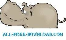 free vector Hippo Walking
