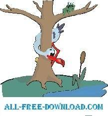 free vector Stork and Frog