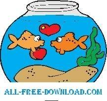 free vector Goldfish in Love