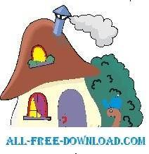 free vector Worm and Mushroom House 2