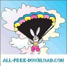 free vector Rabbit Skydiving
