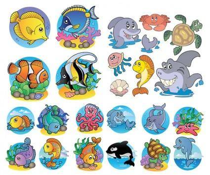 Cute marine animals vector