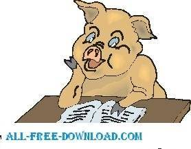 free vector Pig Reading