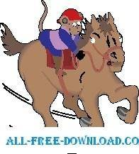 free vector Monkey on Horseback