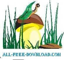 free vector Worm on Mushroom 2
