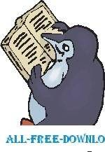 free vector Penguin Reading