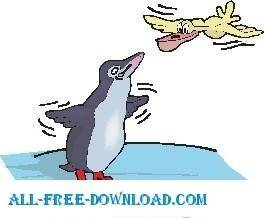 free vector Penguin Trying to Fly