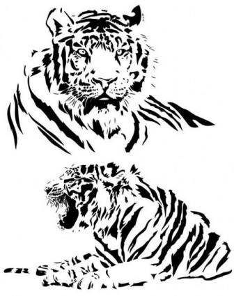 free vector Both black and white tiger vector