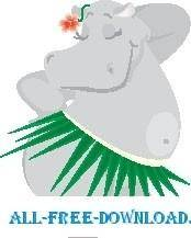 free vector Hippo in Grass Skirt