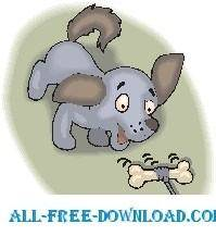 free vector Puppy Chasing Bone