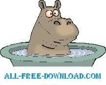 free vector Hippo Bathing 2