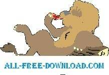 free vector Lion Eating Pizza