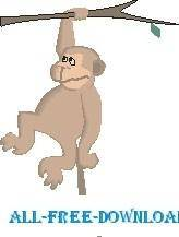 free vector Monkey Hanging on Tree 3