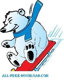 free vector Polar Bear Sledding