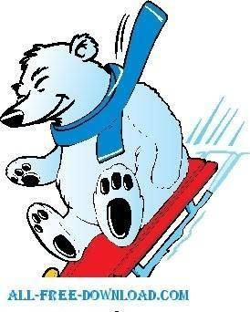 free vector Polar Bear Sledding