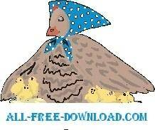 free vector Hen with Chicks