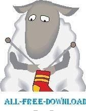 free vector Sheep Knitting Sock