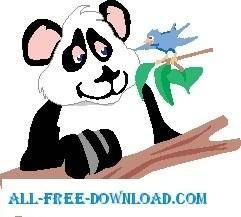 free vector Panda and Bird