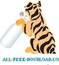 free vector Tiger with Bottle