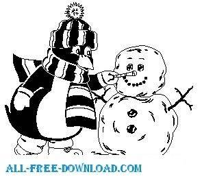 free vector Penguin with Snowman