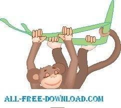 free vector Monkey Swinging from Tree