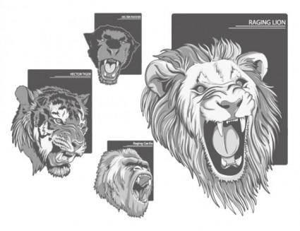 free vector Ferocious beast head vector