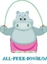 free vector Hippo Jumping Rope