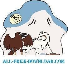 free vector Wolf and Vulture