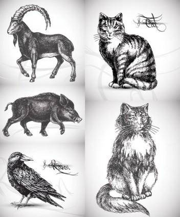 5 handpainted animals vector