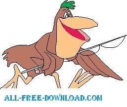 free vector Pelican Fishing 3