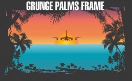 Grunge Palms Frame