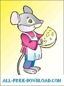 free vector Mouse and Cheese 06