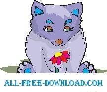 free vector Wolf Cub with Flower