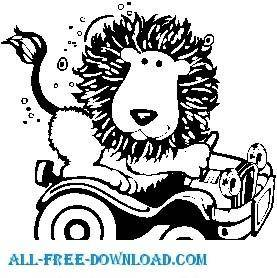 free vector Lion with Car