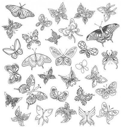 free vector A variety of butterflies vector