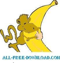 free vector Monkey with Large Banana 2