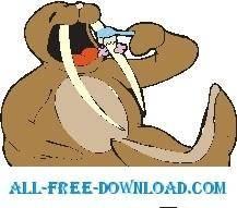 free vector Walrus Brushing Teeth