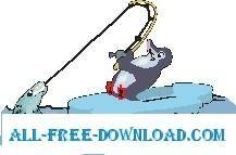 free vector Penguin Fishing 3