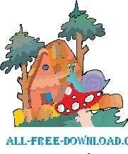 free vector Snail on Mushroom