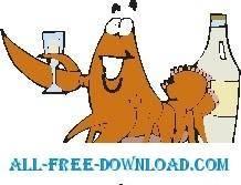free vector Lobster Drinking 3