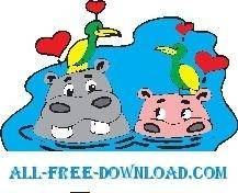 free vector Hippos and Birds in Love