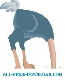 free vector Ostrich Head in Sand 4