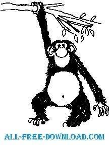 free vector Monkey Hanging on Tree 1