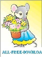free vector Mouse with Flowers