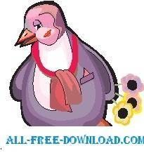 free vector Penguin Shy