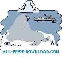 free vector Seal Watching Eskimo
