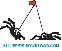 free vector Spiders Hanging
