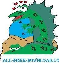 free vector Lizards in Love