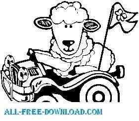free vector Lamb in Car