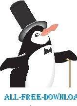 free vector Penguin in Top Hat
